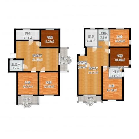 虹口玫瑰苑6室4厅3卫2厨222.00㎡户型图