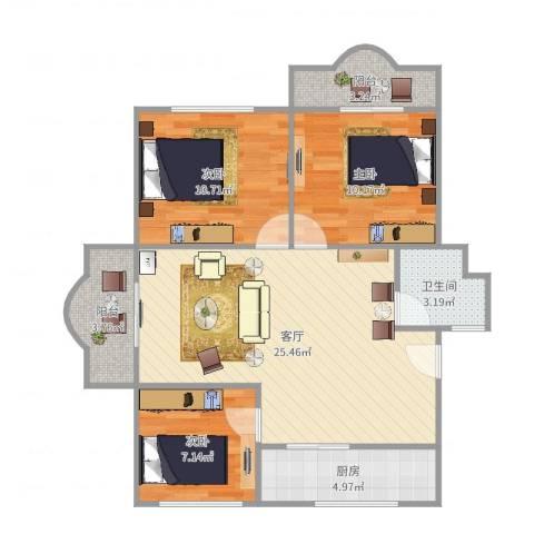 虹口玫瑰苑3室1厅1卫1厨86.00㎡户型图