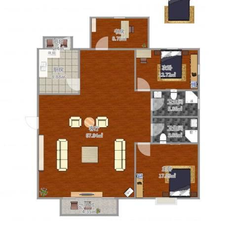 和泰玫瑰园3室1厅2卫1厨166.00㎡户型图