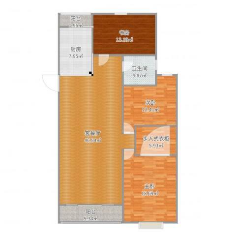 和泰玫瑰园3室2厅1卫1厨146.00㎡户型图