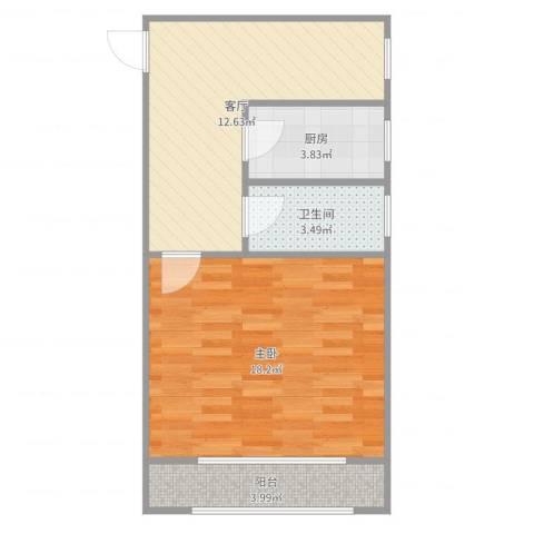 何家宅小区1室1厅1卫1厨53.00㎡户型图
