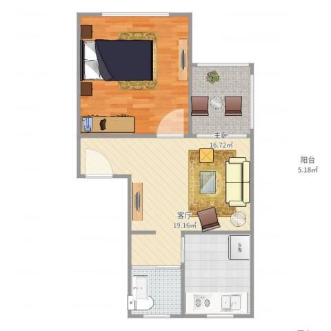 万馨佳园1室1厅1卫1厨69.00㎡户型图