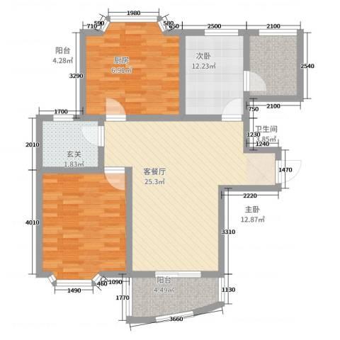 香槟美景2室2厅1卫1厨99.00㎡户型图