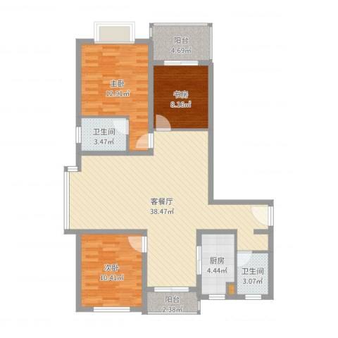 月星公馆3室2厅2卫1厨110.00㎡户型图