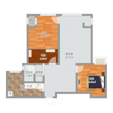颐和庄园三期3室4厅1卫1厨84.00㎡户型图