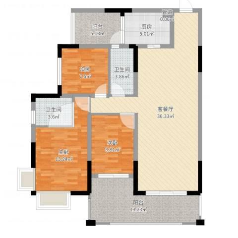 翁江新城3室2厅3卫1厨121.00㎡户型图