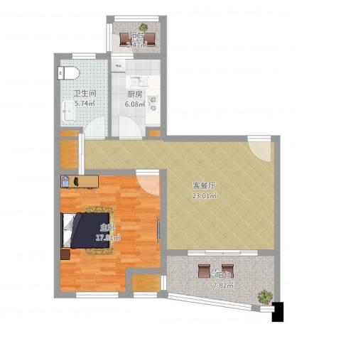 荣域飘鹰锦和花园1室2厅1卫1厨81.00㎡户型图