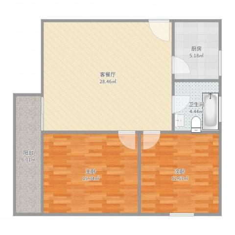 天虹花园A42室2厅1卫1厨90.00㎡户型图