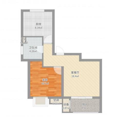 明城海湾新苑1室2厅1卫1厨59.00㎡户型图