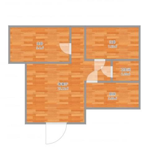 大龙港新村2室2厅1卫1厨57.00㎡户型图