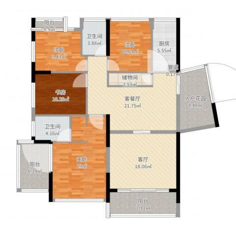 红豆美墅4室4厅3卫1厨160.00㎡户型图