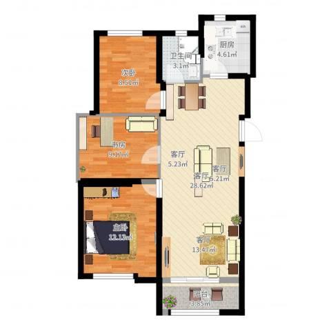 万科蓝山3室1厅1卫1厨99.00㎡户型图