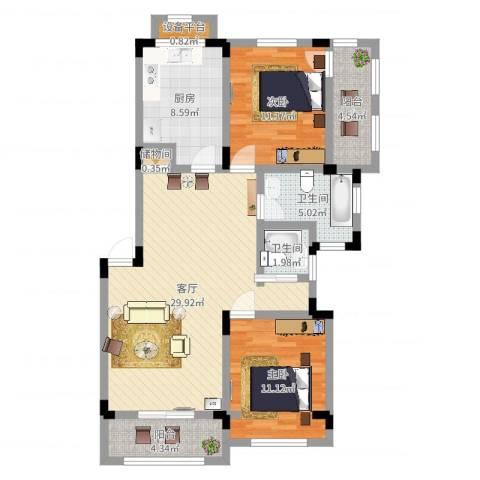 申亚花满庭2室1厅2卫1厨97.00㎡户型图