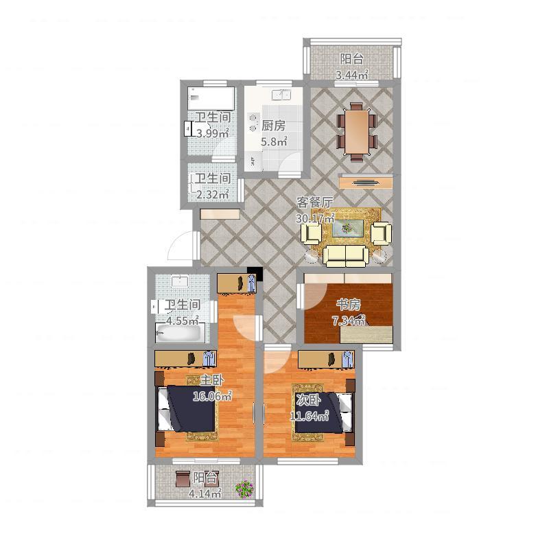新天地高层三室两卫136平米