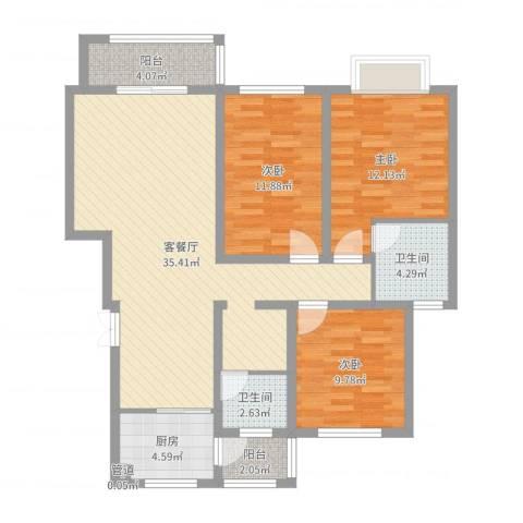 左岸国际3室2厅2卫1厨109.00㎡户型图