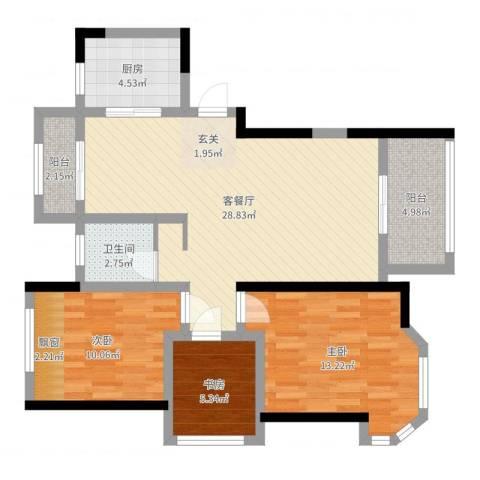 路通沁园3室2厅1卫1厨90.00㎡户型图
