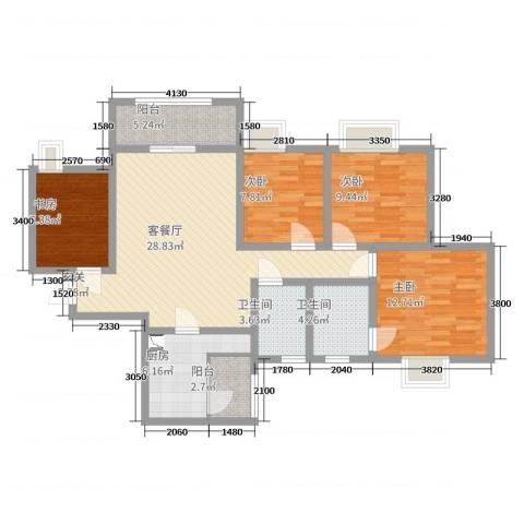 樽憬财富广场4室2厅2卫1厨125.00㎡户型图