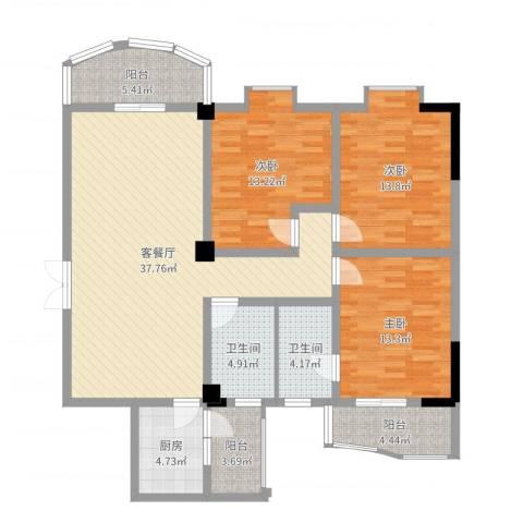 丰华名都3室2厅2卫1厨132.00㎡户型图