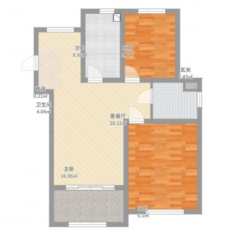 天池湾2室2厅1卫1厨100.00㎡户型图