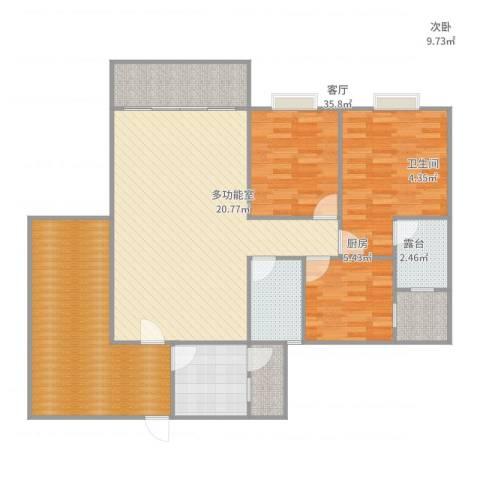 和诚家园3室1厅2卫1厨140.00㎡户型图