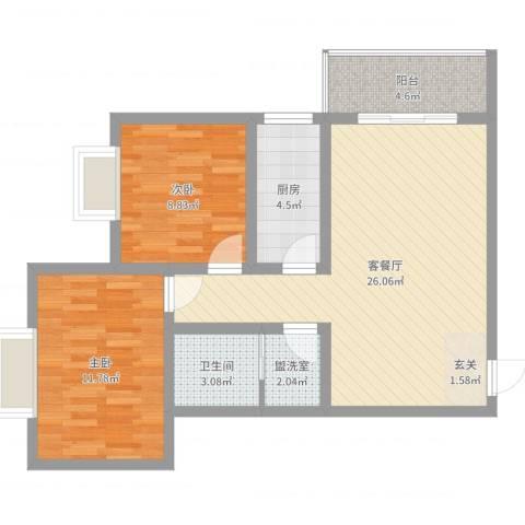 新盛时代2室4厅1卫1厨76.00㎡户型图
