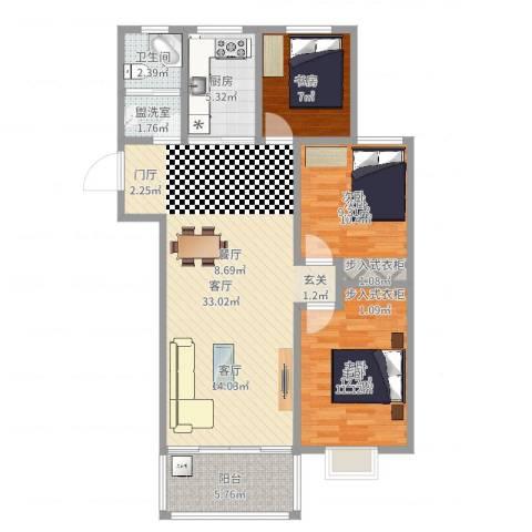 万泰香河佳园113㎡3室3厅1卫1厨97.00㎡户型图