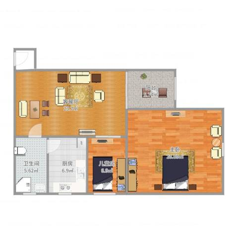 维科格兰花园2室2厅1卫1厨94.00㎡户型图