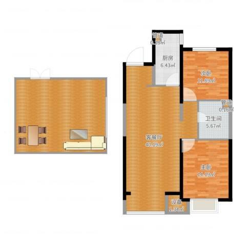 晋中万科・朗润园2室2厅2卫3厨144.00㎡户型图