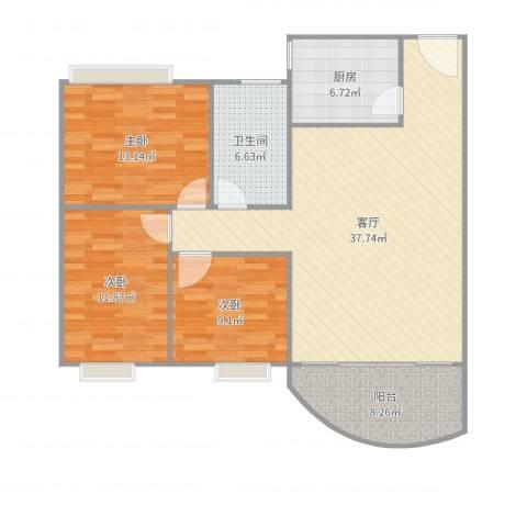 名雅花园3室1厅1卫1厨117.00㎡户型图
