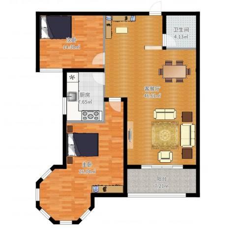 南阳桂花城御景2室2厅1卫1厨132.00㎡户型图