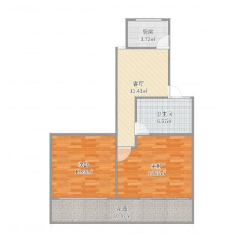 东五小区2室1厅1卫1厨77.00㎡户型图