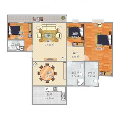 银河丽湾1723室3厅3卫1厨149.00㎡户型图