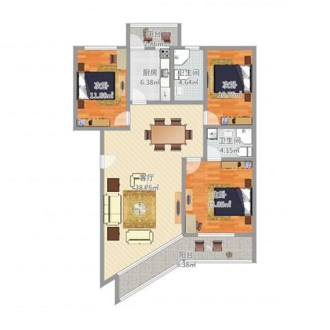 文定天下苑3室1厅2卫1厨130.00㎡户型图