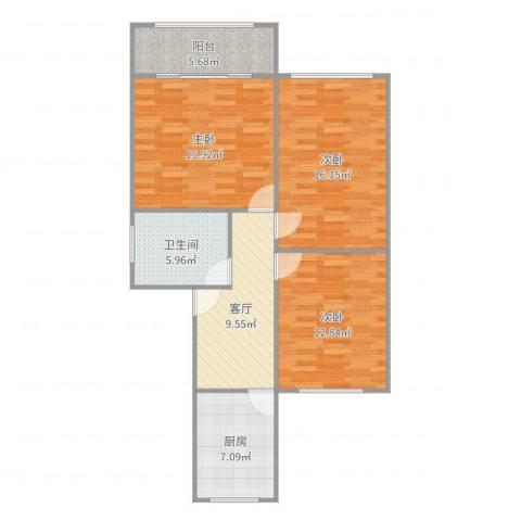 东五小区3室1厅1卫1厨91.00㎡户型图