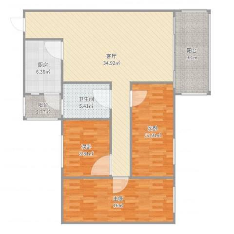 岐海苑3室1厅1卫1厨120.00㎡户型图