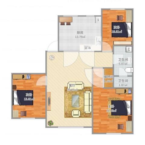 联发・香水湾3室1厅2卫1厨125.00㎡户型图