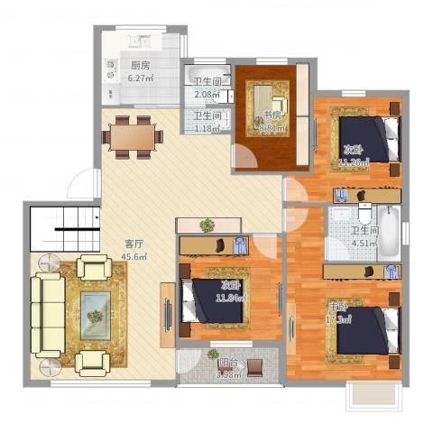 兰亭绿源4室1厅3卫1厨141.00㎡户型图