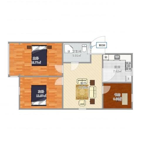 中山北园3室1厅1卫1厨84.00㎡户型图