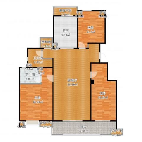 万科金色半山3室2厅2卫1厨150.00㎡户型图