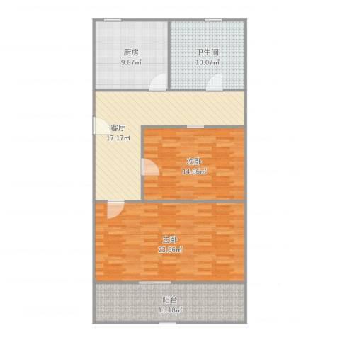 广中一村2室1厅1卫1厨108.00㎡户型图
