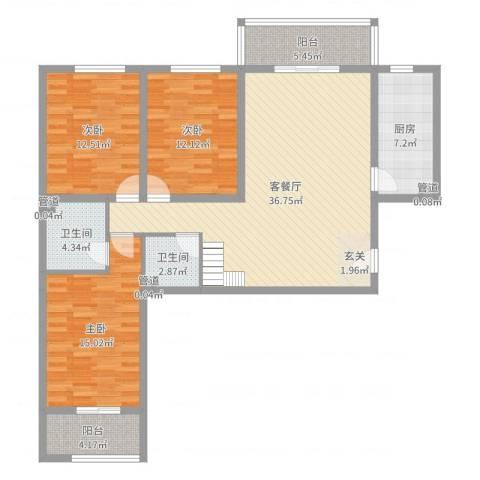 金源花园3室2厅2卫1厨100.58㎡户型图