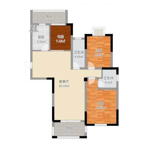 钻石铭苑3室2厅2卫1厨120.00㎡户型图
