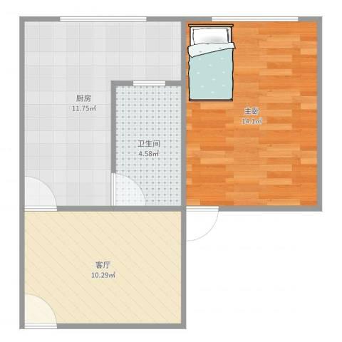 广灵四路280弄小区1室1厅1卫1厨51.00㎡户型图