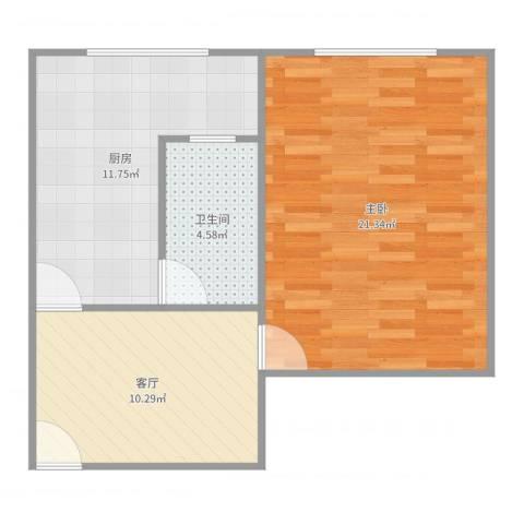广灵四路280弄小区1室1厅1卫1厨60.00㎡户型图