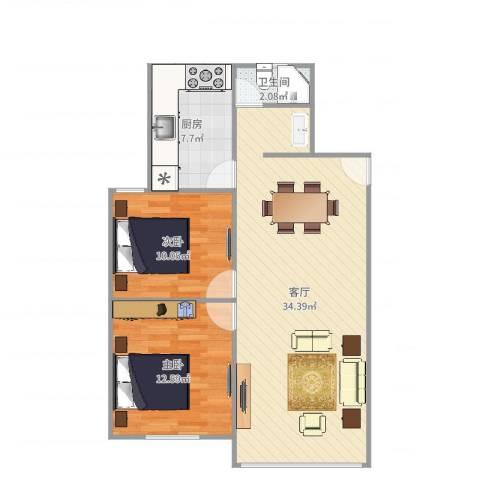 广联新苑2室1厅1卫1厨84.00㎡户型图