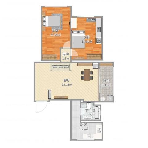 广联新苑2室1厅1卫1厨88.00㎡户型图