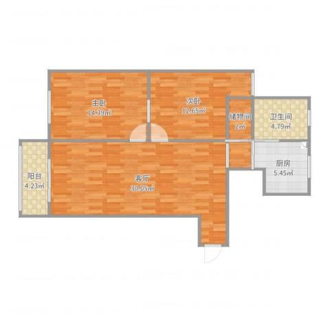 广联新苑14号702室2室1厅1卫1厨94.00㎡户型图