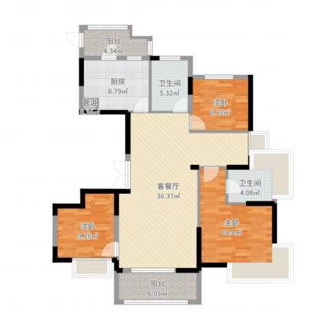巴丽新地3室2厅2卫1厨121.00㎡户型图