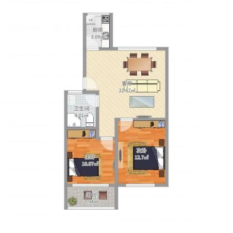 东五小区(浦东)2室1厅1卫1厨70.00㎡户型图