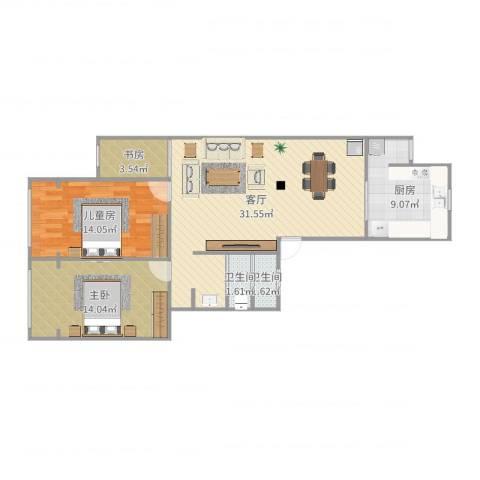 福赐新苑3室1厅2卫1厨94.00㎡户型图